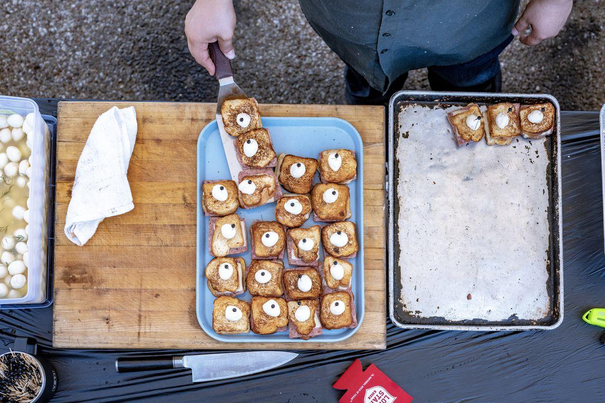 Steve McHugh's pork pate melts with pickled quail eggs at Coupe de Grille