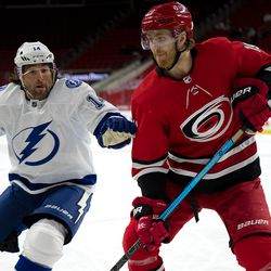 The Carolina Hurricanes beat the defending Stanley Cup Champions in a 4-0 shutout, Saturday, Feb. 20, 2021 in PNC Arena.