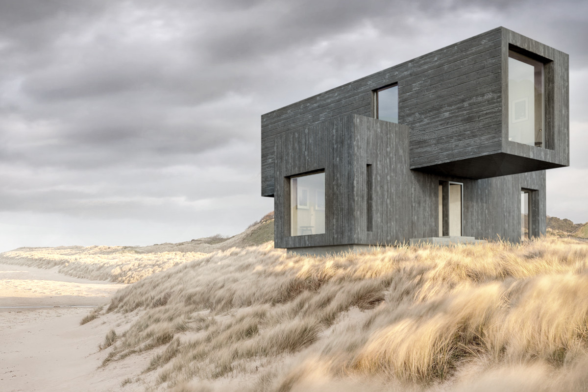 Rendering of modern house on beach.