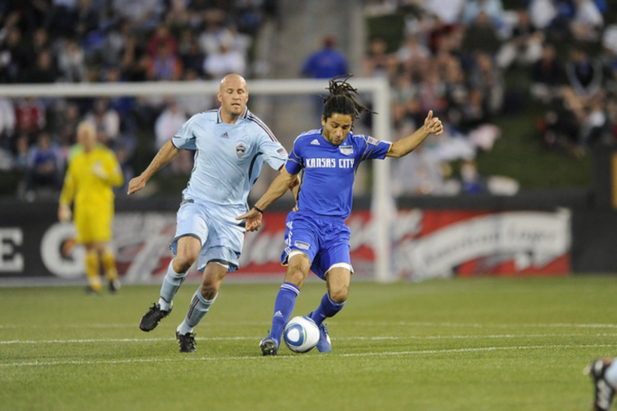 KANSAS CITY, MO - APRIL 10: Stephane Auvray #8 of the Kansas City Wizards advances the ball during the game against the Colorado Rapids on April 10, 2010 at Community America Park in Kansas City, Kansas. (Photo by G. Newman Lowrance/Getty Images)