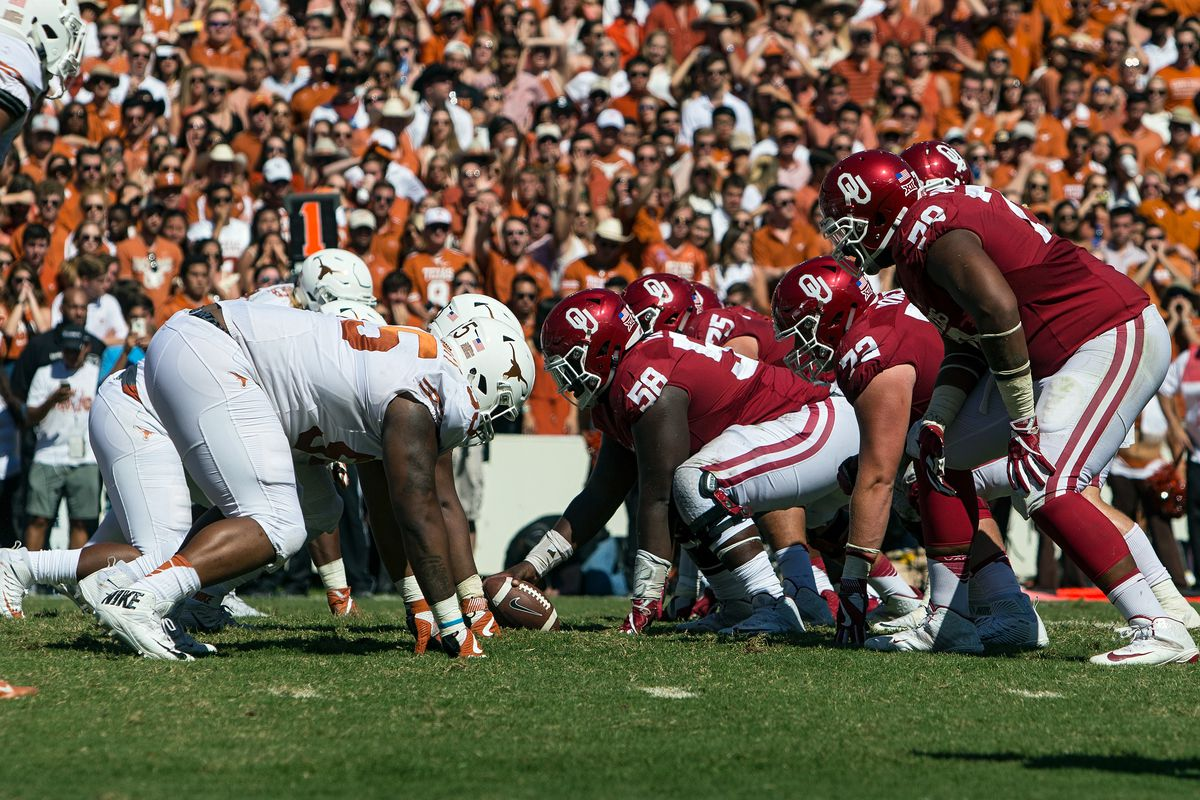 Oklahoma Sooners offensive lineman Erick Wren during the Oklahoma Sooners 45-40 victory over the Texas Longhorns in their Red River Showdown on October, 2016, at the Cotton Bowl in Dallas, TX.