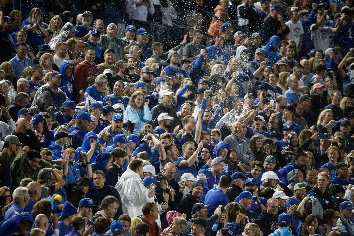 Fans cheer as BYU and Utah competeat LaVell Edwards Stadium in Provo on Saturday, Sept. 11, 2021. BYU won 26-17.