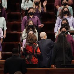 President Russell M. Nelson, President of The Church of Jesus Christ of Latter-day Saints, and his wife Sister Wendy Nelson, greet the multicultural choir after the 191st Semiannual General Conference of The Church of Jesus Christ of Latter-day Saints in Salt Lake City on Saturday, Oct. 2, 2021.