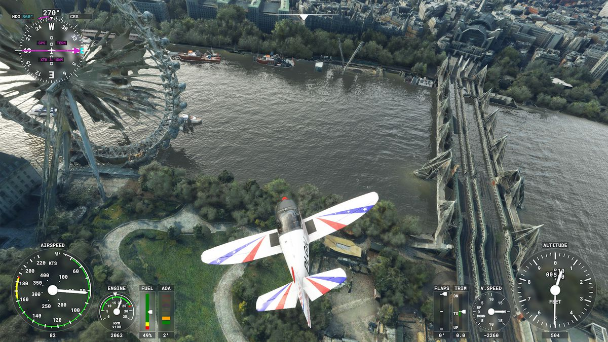 a single-engine aircraft flying low over London in Microsoft Flight Simulator