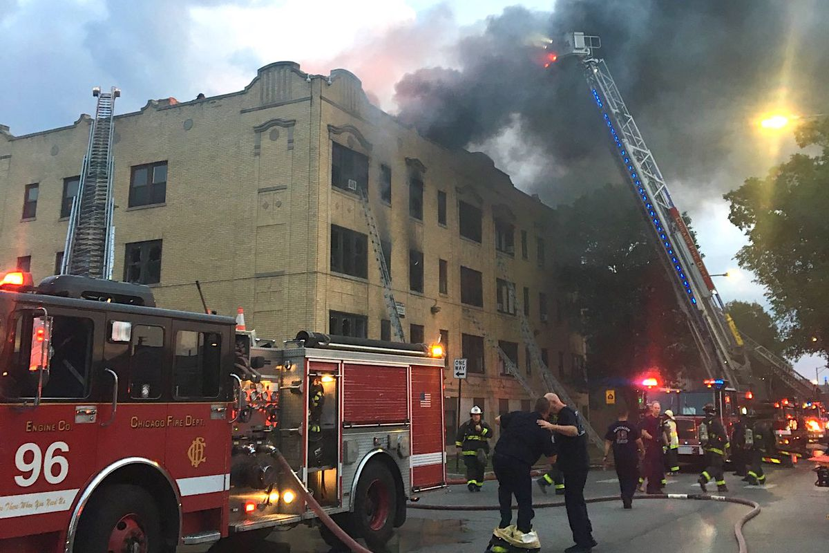 A fire broke out at an apartment building in the 400 block of South Laramie Avenue, July 29, 2019, in Austin.