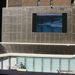 This giant tv can be viewed from both FoodParc and Bar Basque. That sloping section will have grass on it.