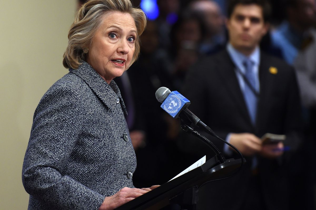 Hillary Clinton at podium, responding to a question. It was probably about her emails.