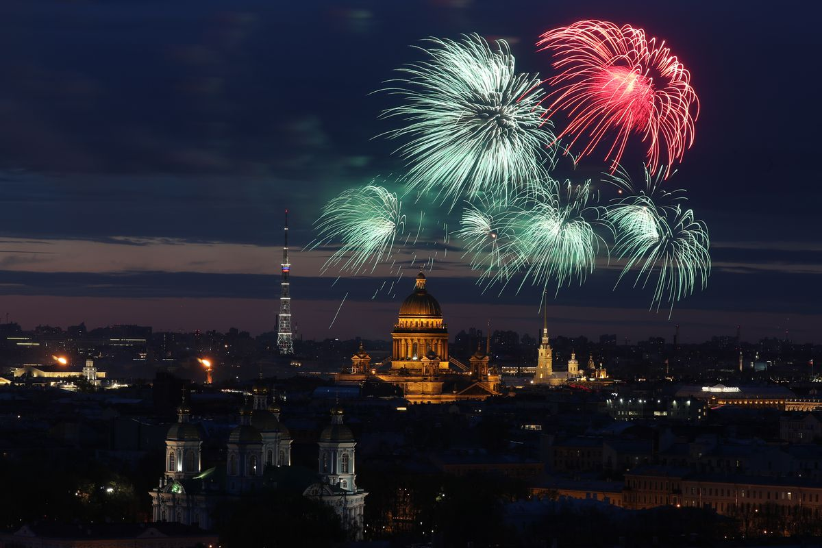 Fireworks go off St Petersburg on Victory Day