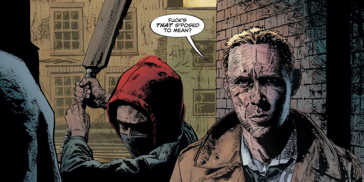 """""""Fuck's that s'posed to mean?"""" says John Constantine, as a hooded man readies a cricket bat behind his back, in John Constantine: Hellblazer #1, DC Comics (2019)."""
