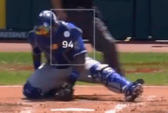Salvador Perez looking down in disappointment after Jorge López misses with a fastball.