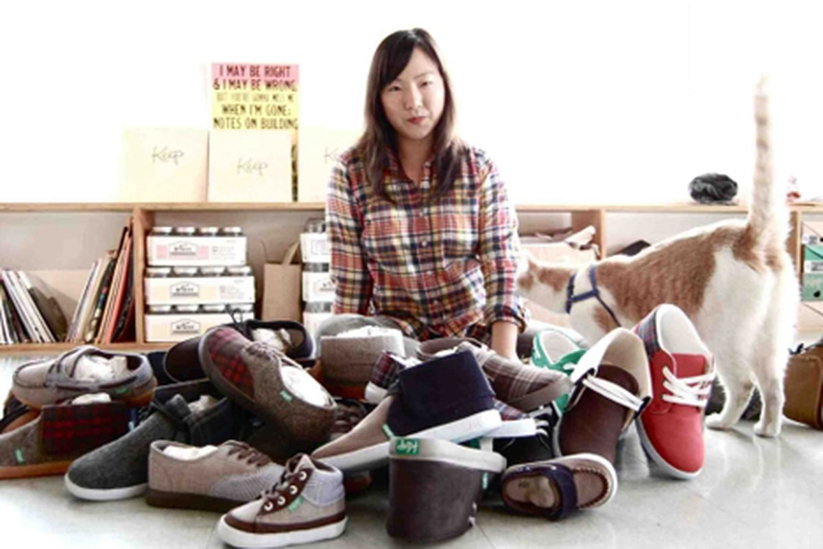 """We wonder what Una Kim is wearing for shoes in this picture. Via <a href=""""http://heartymagazine.com/news/new-feature-una-kim-keep-shoes-step-ahead"""">Hearty Magazine</a>"""
