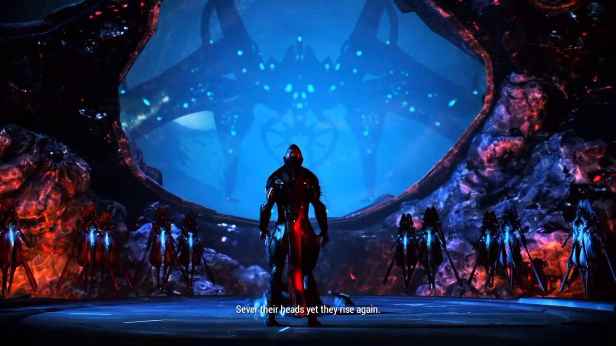 Warframe - a still from the Second Dream cinematic, showing the Stalker