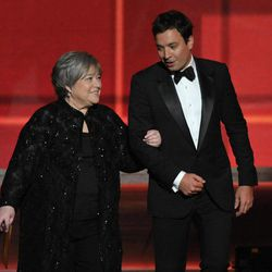 Kathy Bates, left, and Jimmy Fallon present an award onstage at the 64th Primetime Emmy Awards at the Nokia Theatre on Sunday, Sept. 23, 2012, in Los Angeles.