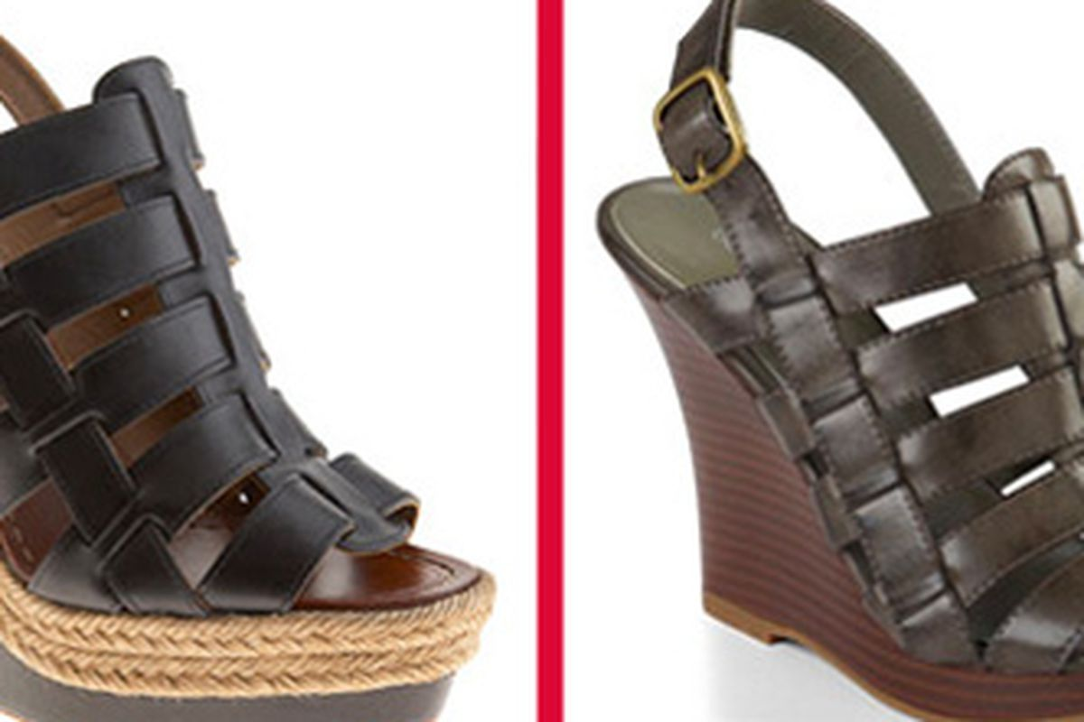 """Louboutin at left via <a href=""""http://www.barneys.com/Barcelona/159016394,default,pd.html"""">Barneys</a> &amp; Old Navy sandal at right via <a href=""""http://www.nitrolicious.com/blog/2010/03/18/old-navy-spring-2010-collection-preview/"""">nitrolicious</a>"""