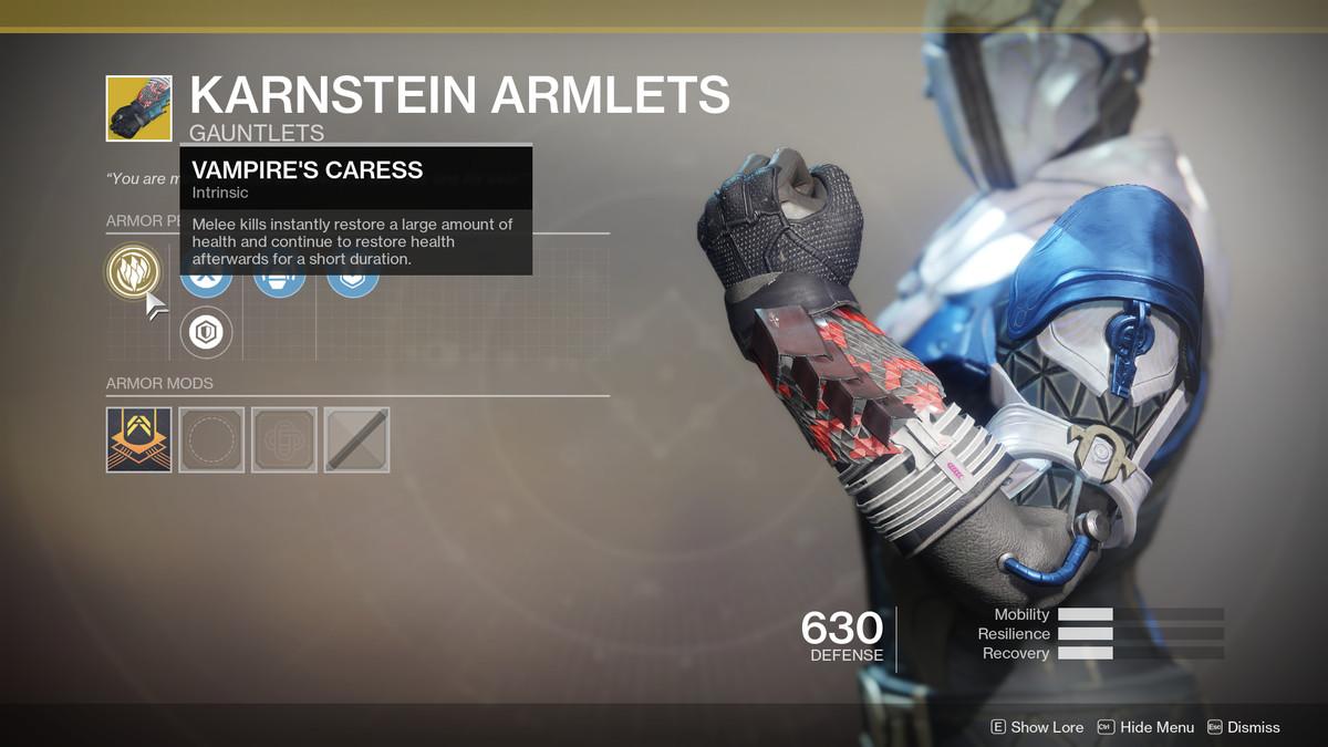 Karnstein Armlets Exotic Destiny 2