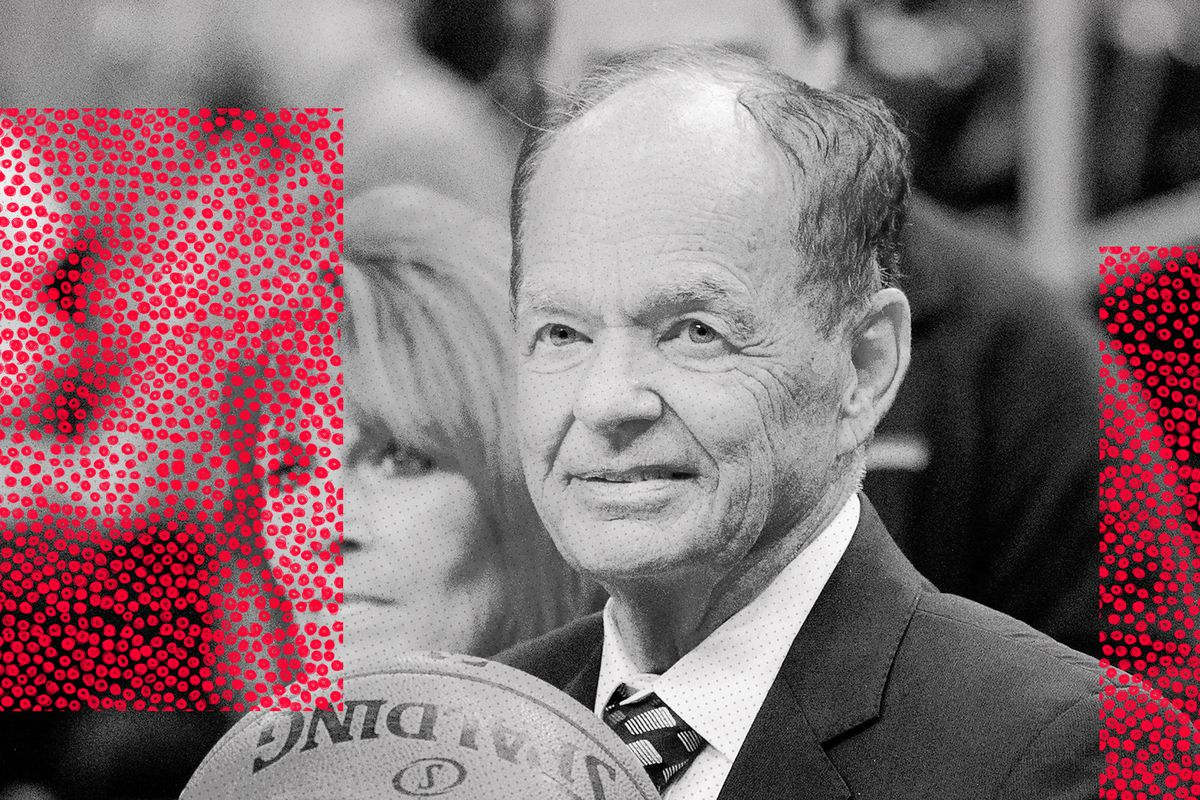 Glen Taylor, franchisee of the Timberwolves, holds a basketball.