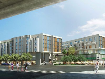 A rendering of the apartment complex, set to include plenty of ground-floor commercial space.