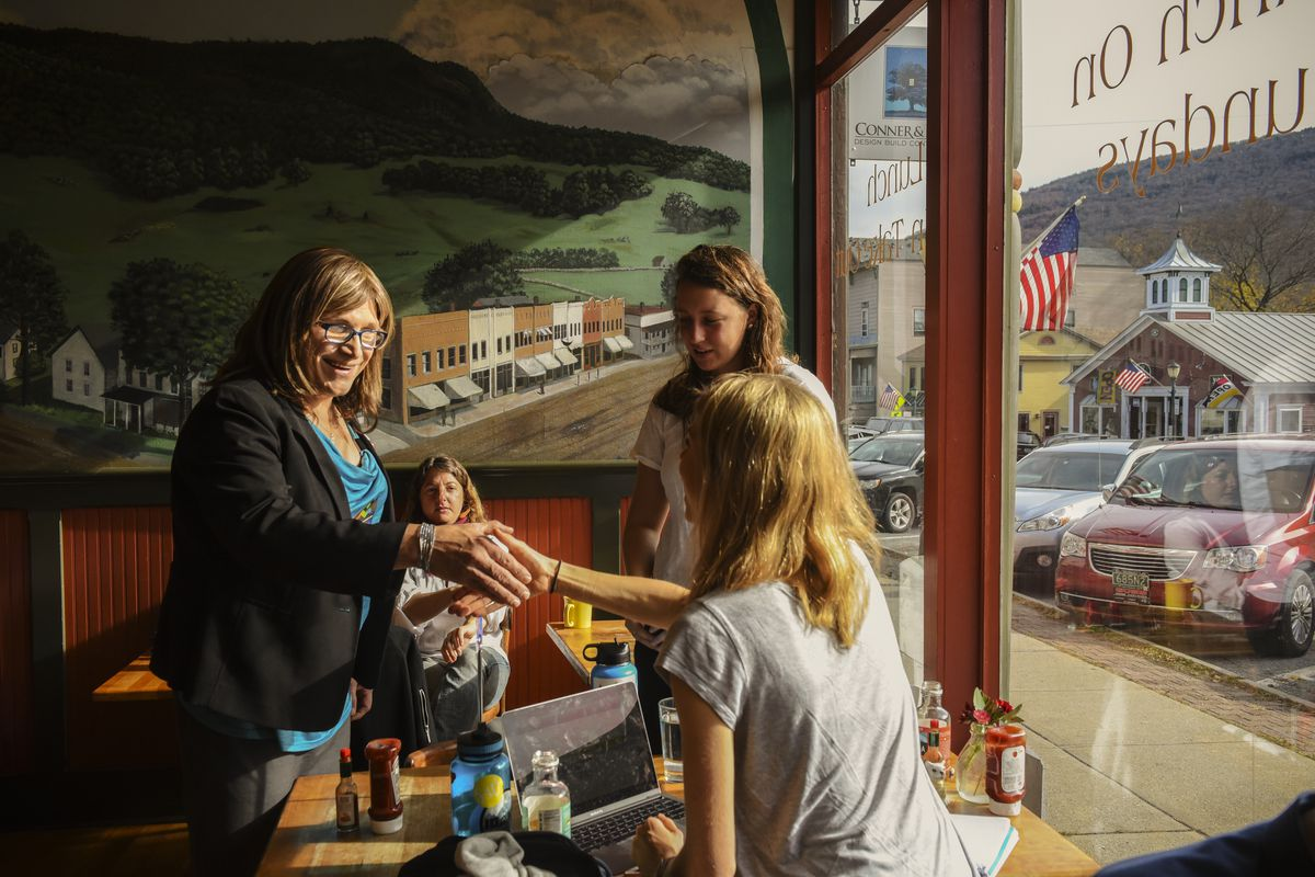 November 4: Democratic Gubernatorial Candidate Christine Hallquist campaigns in a local cafe in Bristol, Vermont. Hallquistmade history in August when she won her primary race forgovernor of Vermontand became the first openly transgender