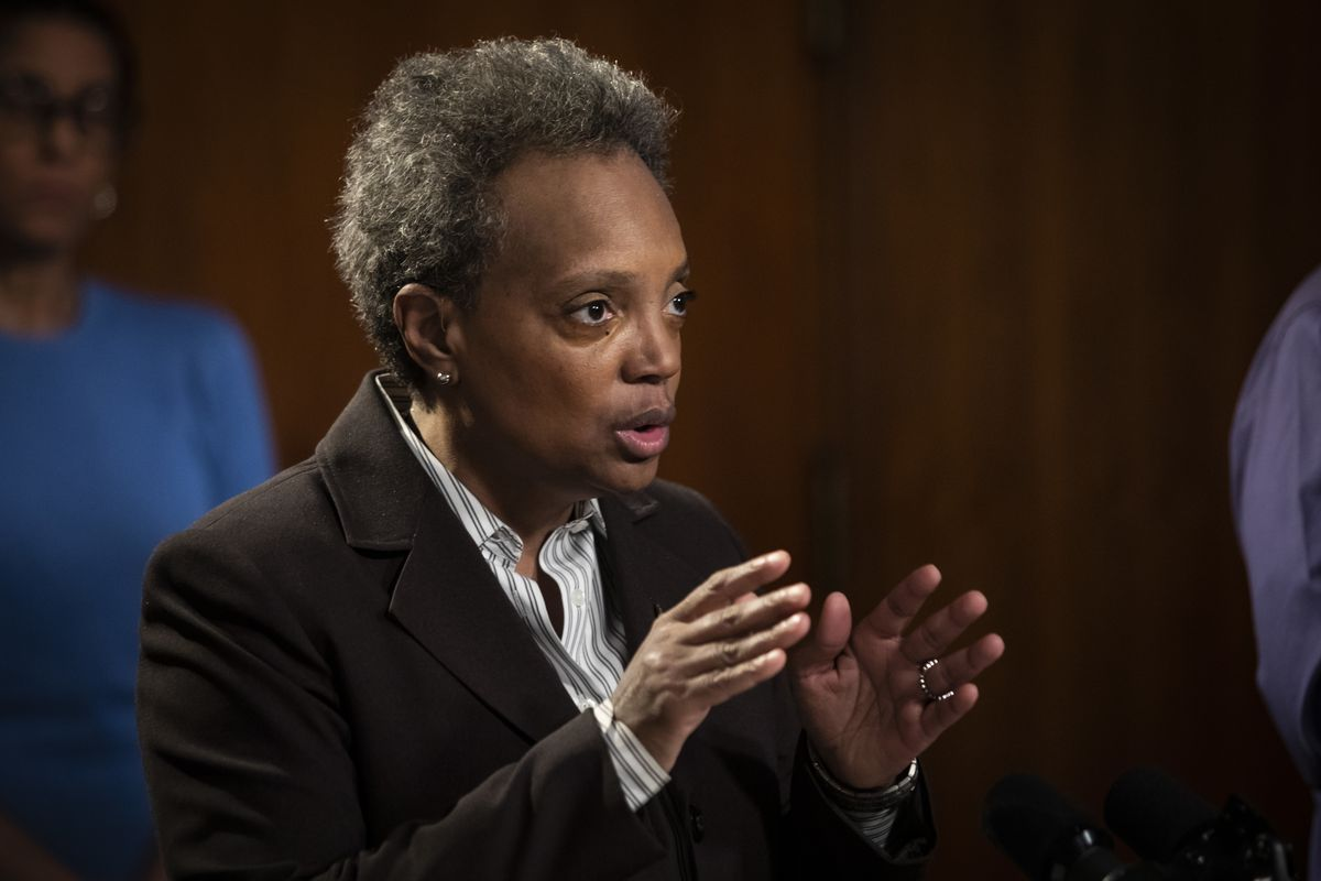 Mayor Lori Lightfoot speaks during a news conference at City Hall about the city's response to the coronavirus pandemic.