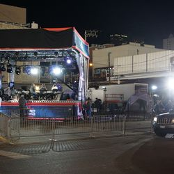 FOX Sports broadcast stage, and stage lights, set up at Waveland and Sheffield