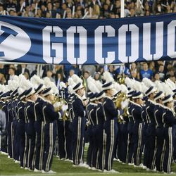 The BYU band performs in Provo on Friday, Oct. 6, 2017.