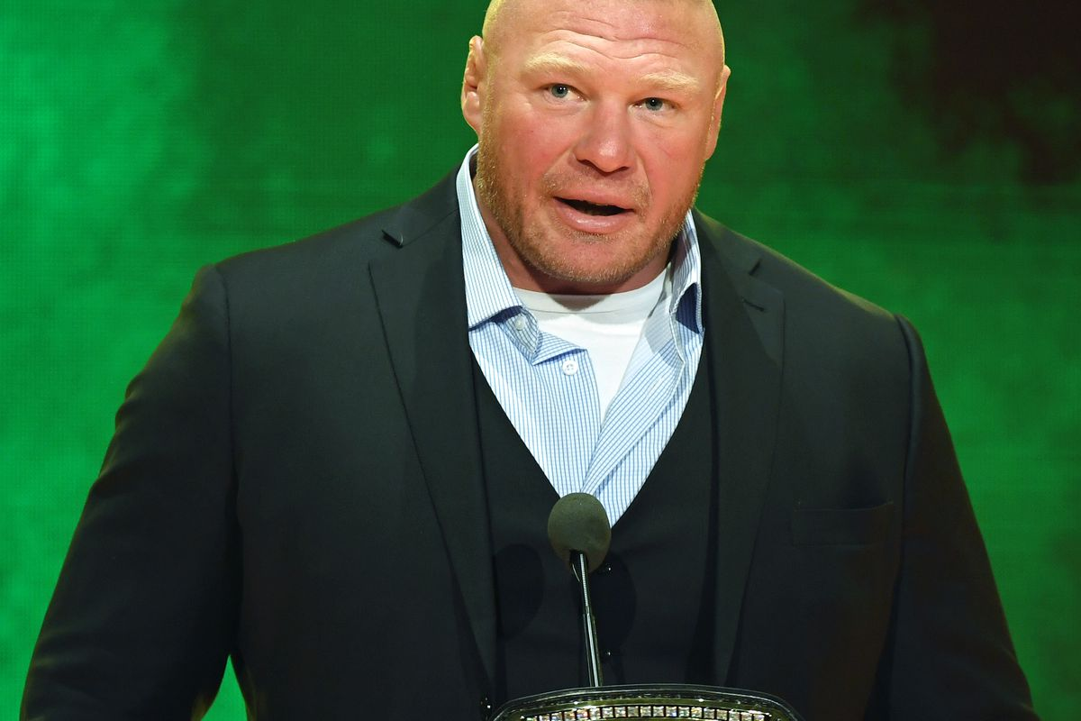 WWE champion Brock Lesnar speaks during a WWE news conference at T-Mobile Arena on October 11, 2019 in Las Vegas, Nevada.