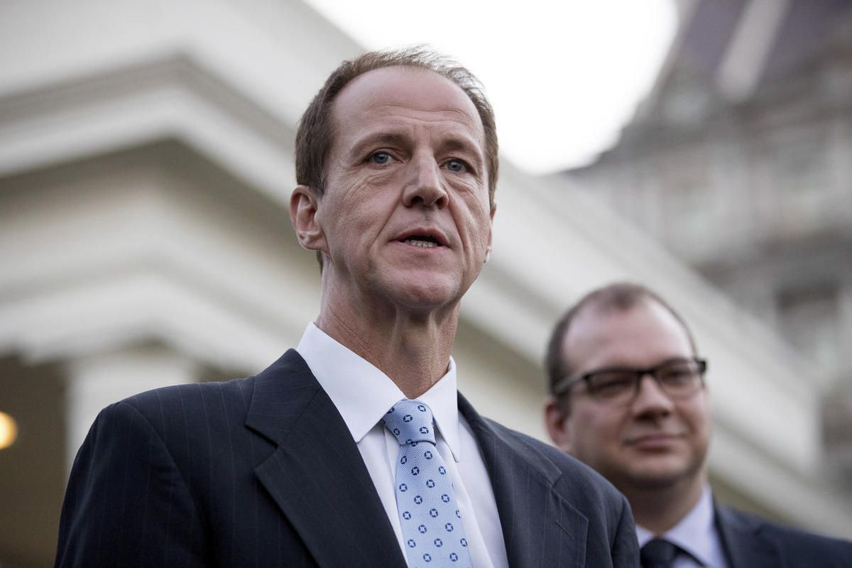 FILE- In this March 8, 2017, file photo, Americans for Prosperity President Tim Phillips, accompanied by FreedomWorks President Adam Brandon, speaks to members of the media outside the West Wing of the White House in Washington. Chief lieutenants in the K