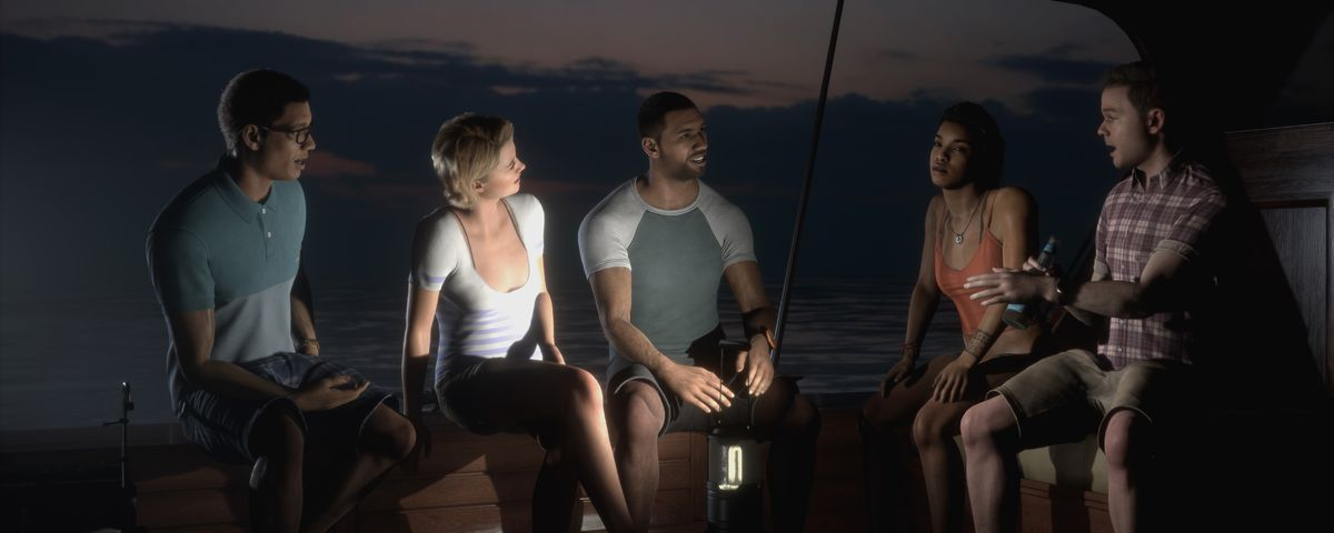 five people sit on a boat around a lantern as one of them tells a scary story in Man of Medan
