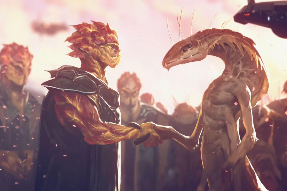 Peace between alien races, one made of rocks and the other a snake-like multi-armed humanoid.