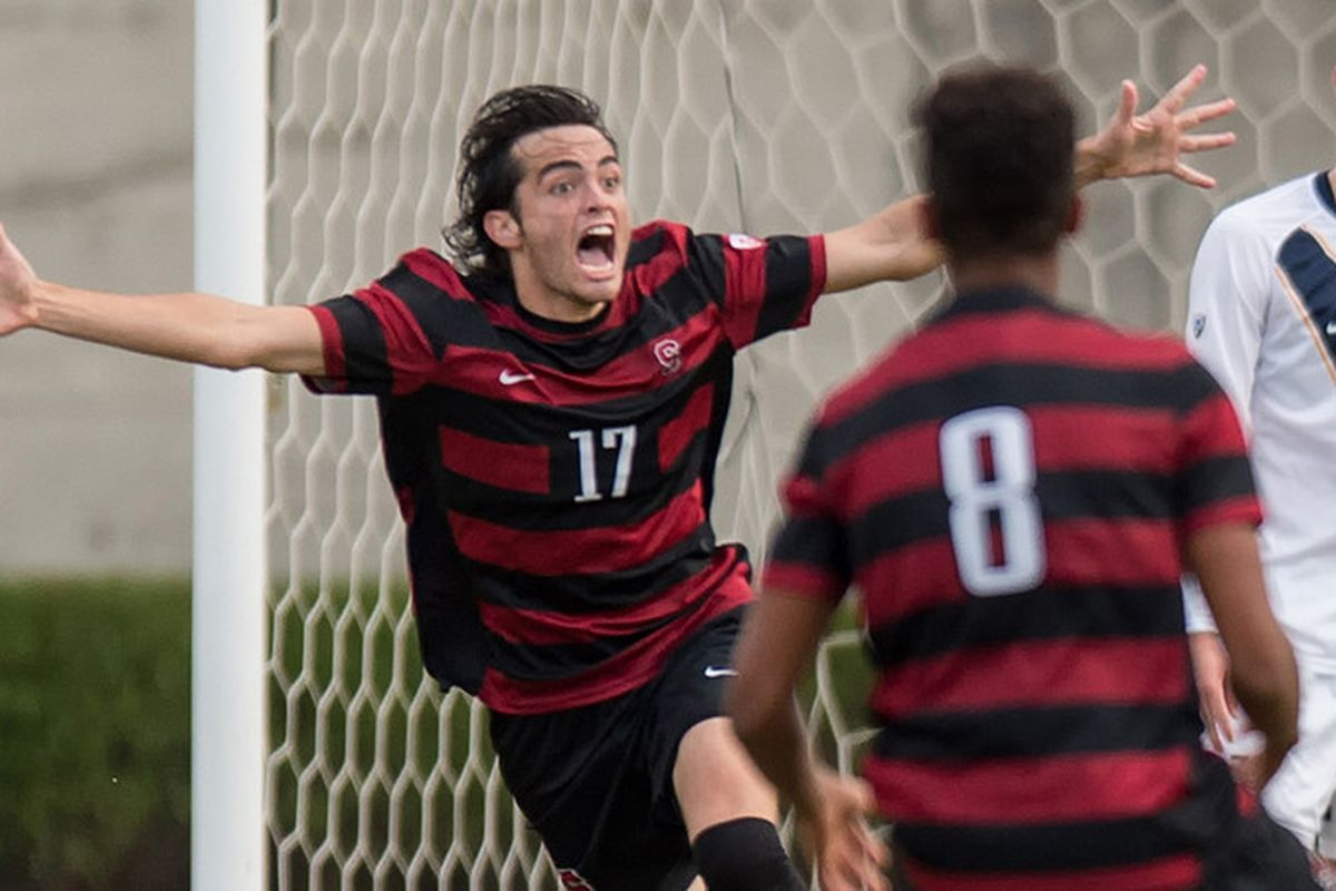 Austin Meyer celebrates his game-winning goal
