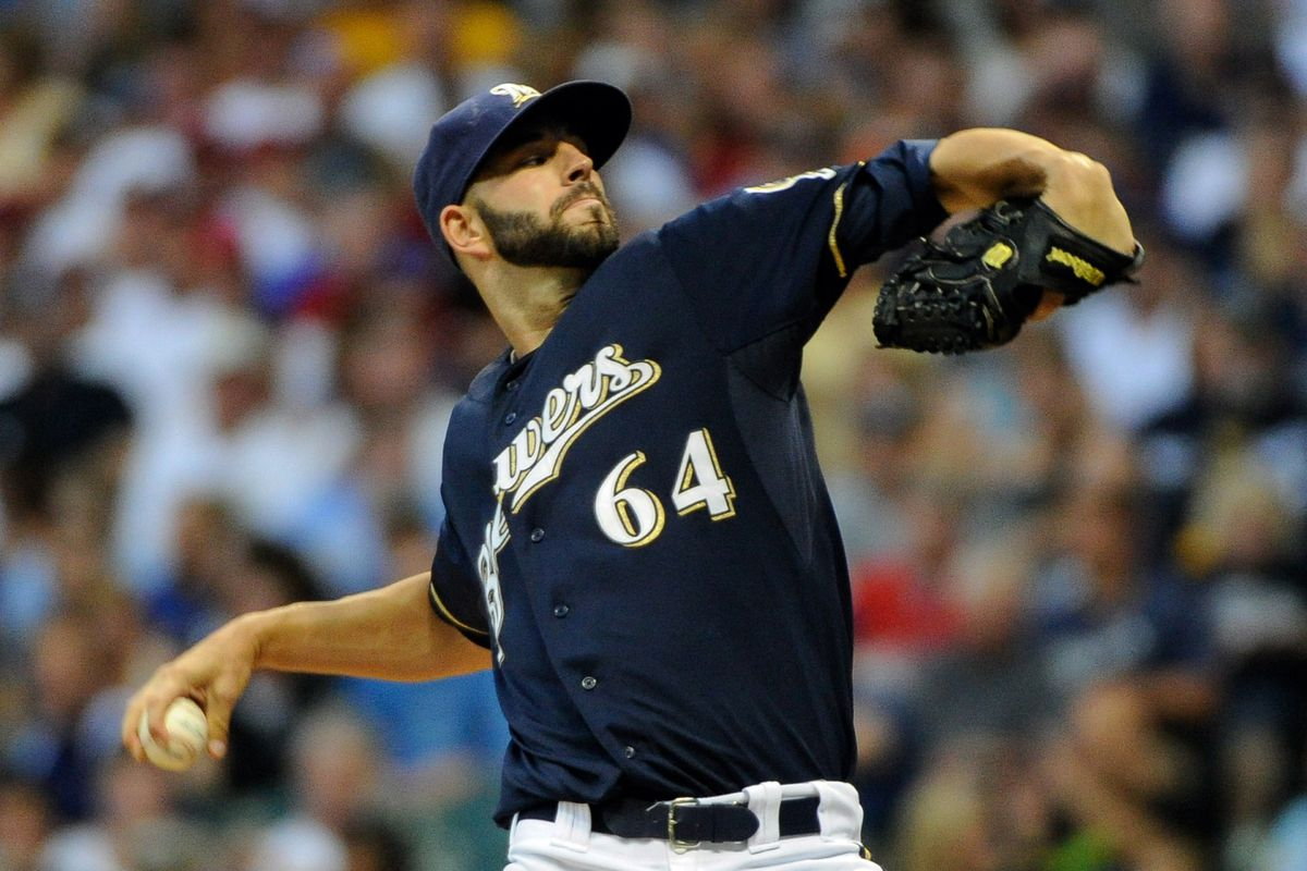 Aug 7, 2012; Milwaukee, WI, USA;  Milwaukee Brewers pitcher Mike Fiers (64) pitches against the Cincinnati Reds at Miller Park.  Mandatory Credit: Benny Sieu-US PRESSWIRE