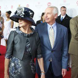 First Lady Jane Beshear accessorized with Kentucky Gov. Steve Beshear.