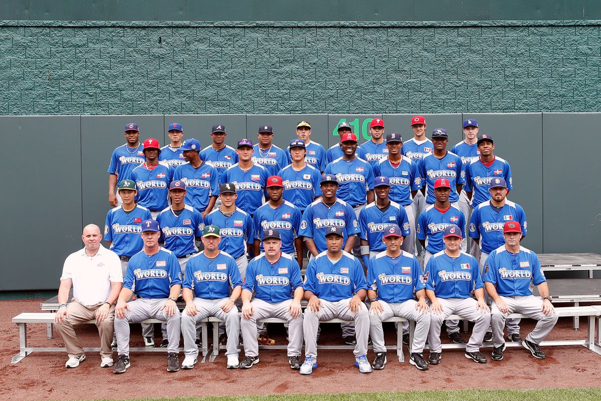 KANSAS CITY, MO - JULY 08:  The All Star Futures World Team poses for a team photo prior to the SiriusXM All-Star Futures Game at Kauffman Stadium on July 8, 2012 in Kansas City, Missouri.  (Photo by Jamie Squire/Getty Images)