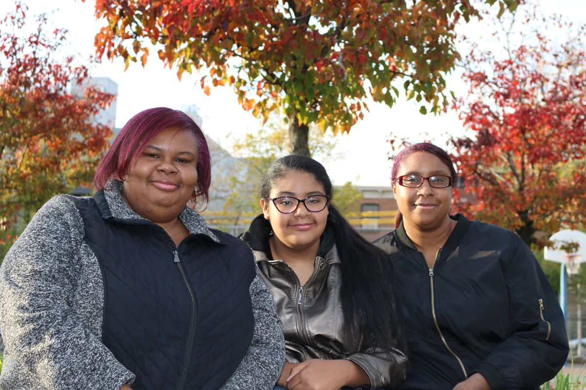 Melina Mays (center) is attending Sunset Park Prep, which was her first choice. Her mom, Dorothy Mays (left) and aunt, Cindy Mays (right) hadn't heard of the school prior to touring it.