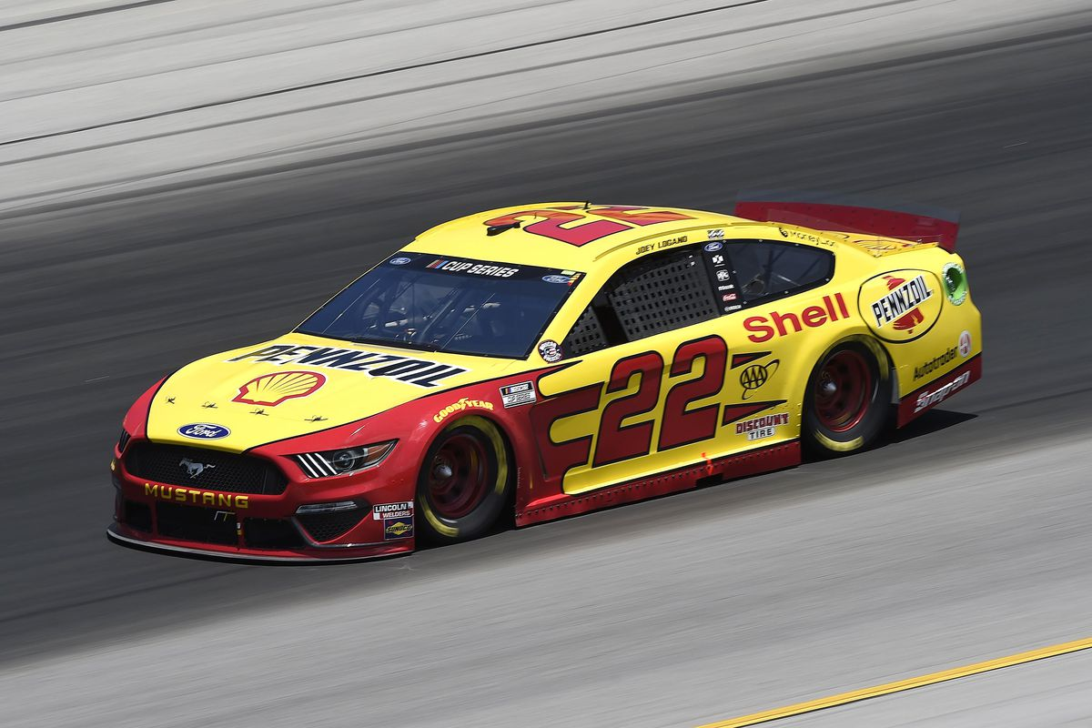 Joey Logano, driver of the #22 Shell Pennzoil Ford, drives during the NASCAR Cup Series Quaker State 400 Presented by Walmart at Kentucky Speedway on July 12, 2020 in Sparta, Kentucky.