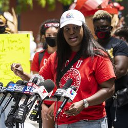Stacy Davis Gates, vice president of the Chicago Teachers Union, speaks during a rally in Federal Plaza in the Loop to call for the Chicago Board of Education to vote to end a $33 million contract between Chicago Public Schools and the Chicago Police Department, Wednesday afternoon, June 24, 2020.