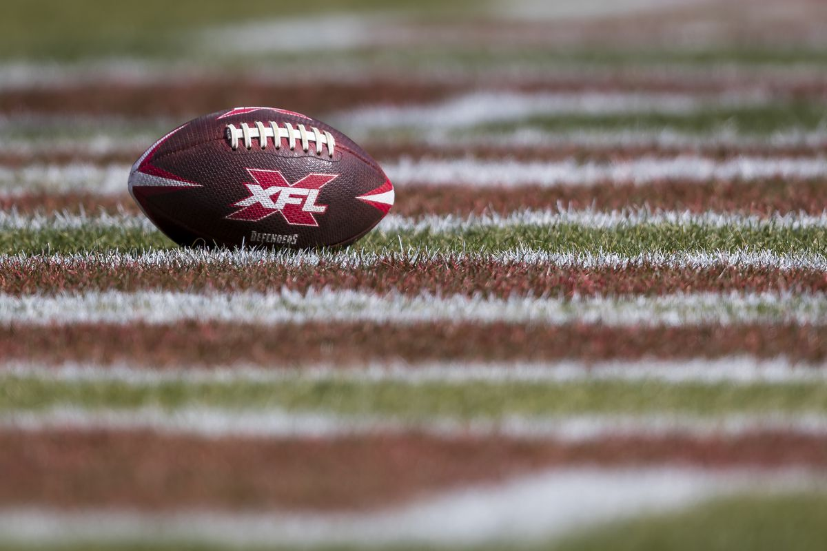 A detailed view of a DC Defenders ball with XFL logo in the end zone before the game between the DC Defenders and the NY Guardians at Audi Field on February 15, 2020 in Washington, DC.