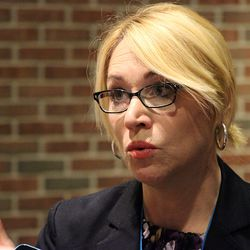 ESPN's Doris Burke answers a question from the media.