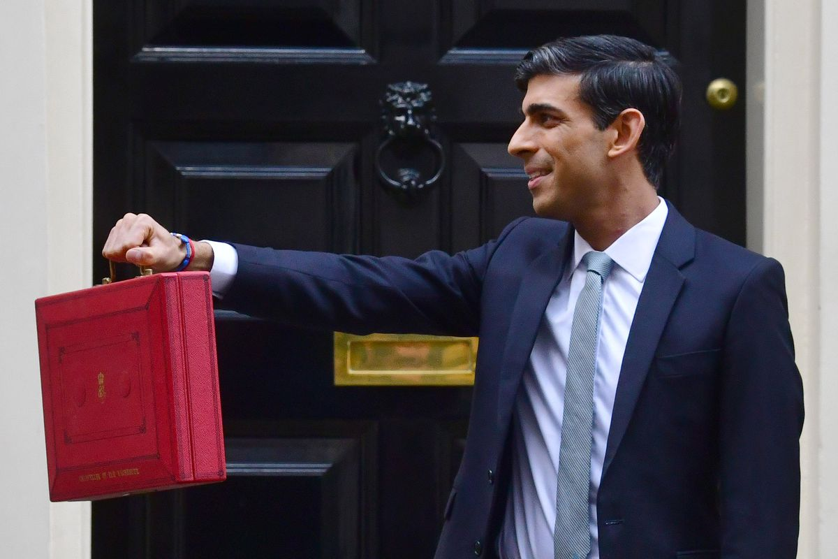 UK, Chancellor of the Exchequer, Rishi Sunak, holding the Budget box