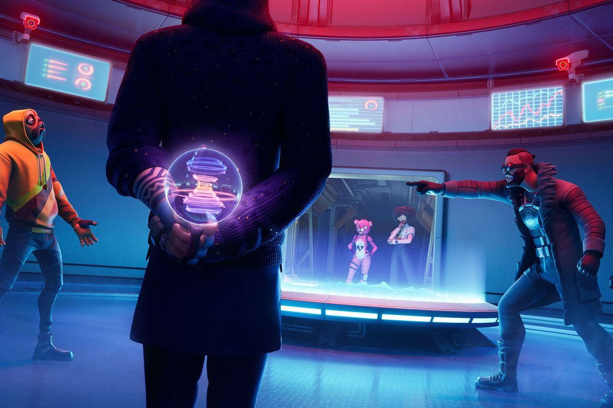 Artwork of Fortnite Impostors mode, featuring multiple agents on the Bridge