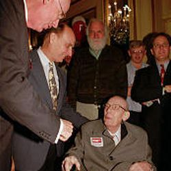 Sen. Bob Bennett, left, in 1993 with his father, Wallace, seated, who served four terms in the Senate. Bennett is running for a third term.