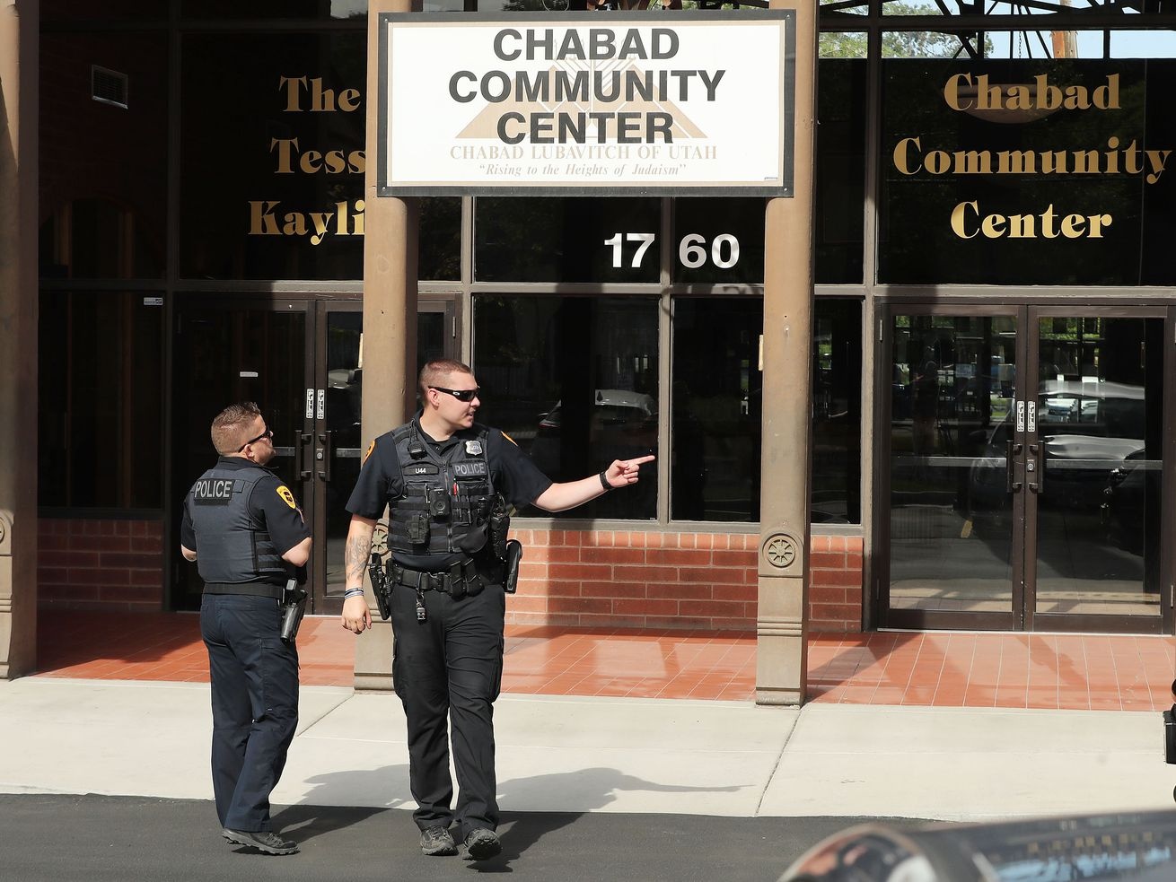 Salt Lake City police investigate after a swastika was scratched into the front door of Chabad Lubavitch of Utah synagogue in Salt Lake City.