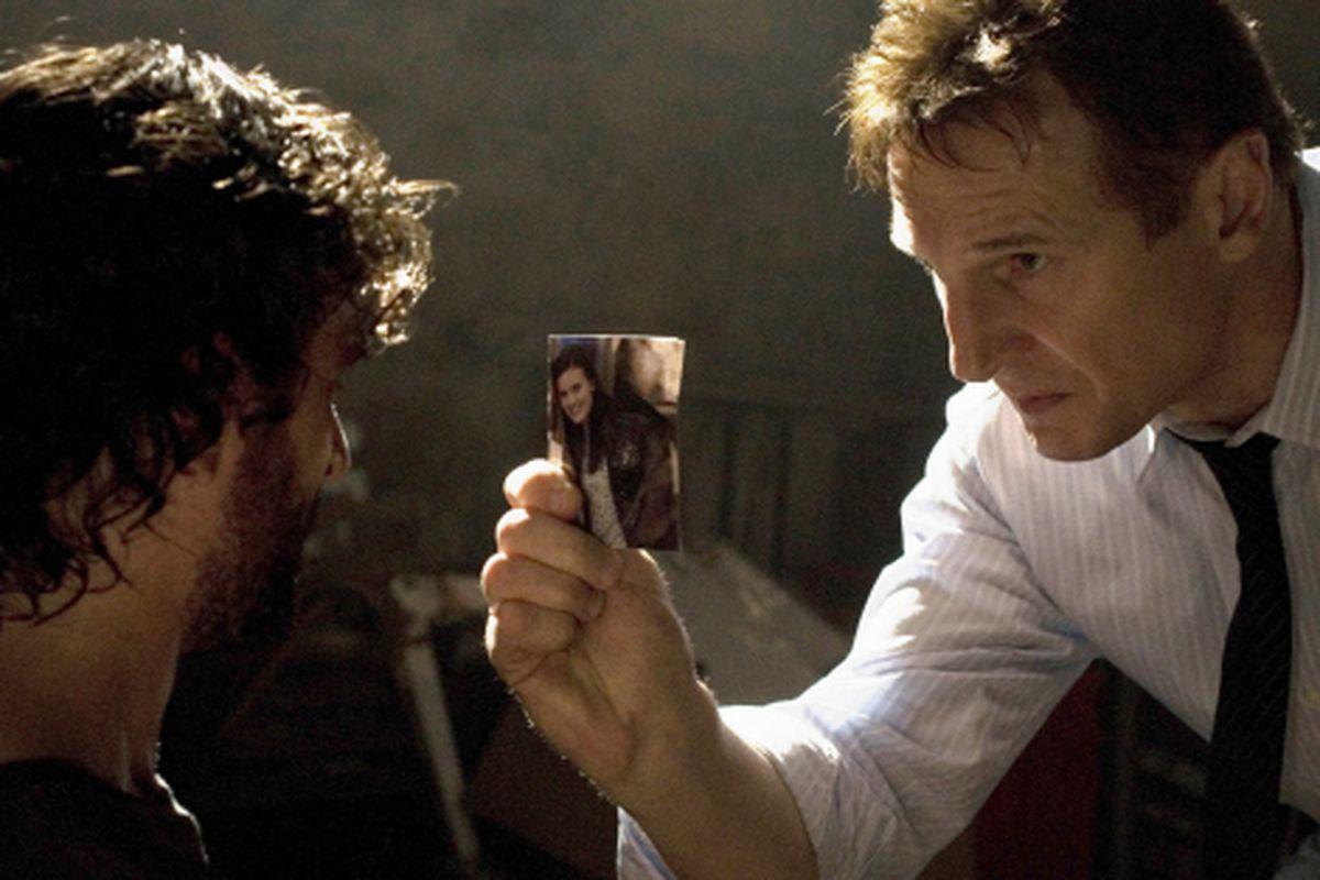 Liam Neeson interrogates a man in 'Taken'