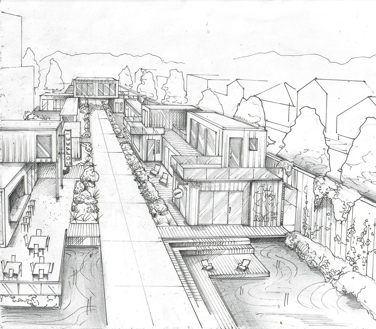 """A sketch of """"Container Row,"""" which would, of course, repurpose shipping containers, paying homage to Hulsey Yard's past use. It would be used as an affordable district of retail, office, and gallery space. It would also be bisected by a Beltline trail."""