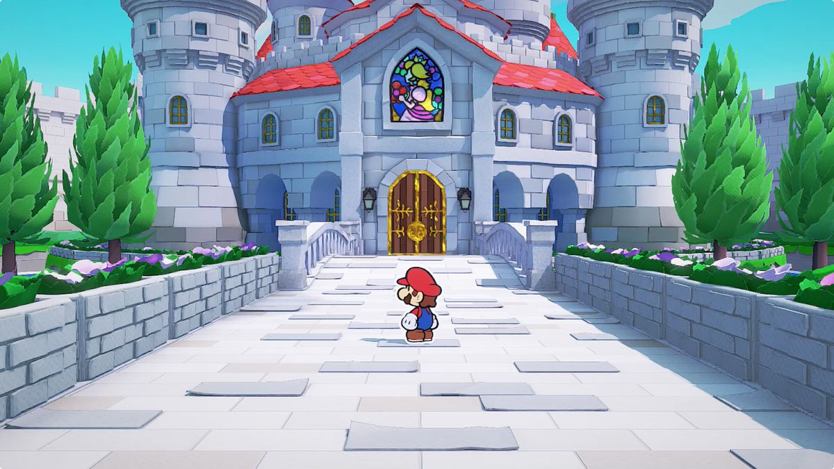 Paper Mario: The Origami King approaching Princess Peach's castle