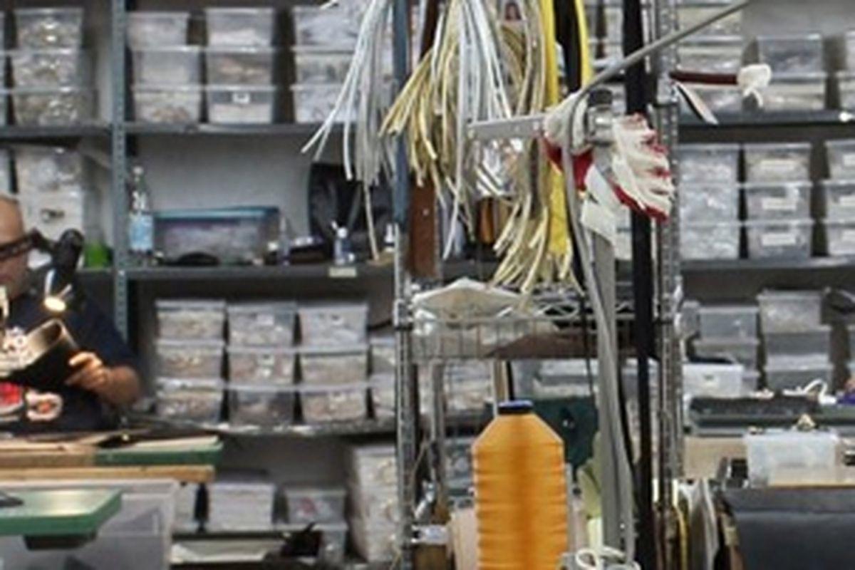 """A handbag factory in Midtown, via <a href=""""http://makersrow.com/"""">Maker's Row</a>"""