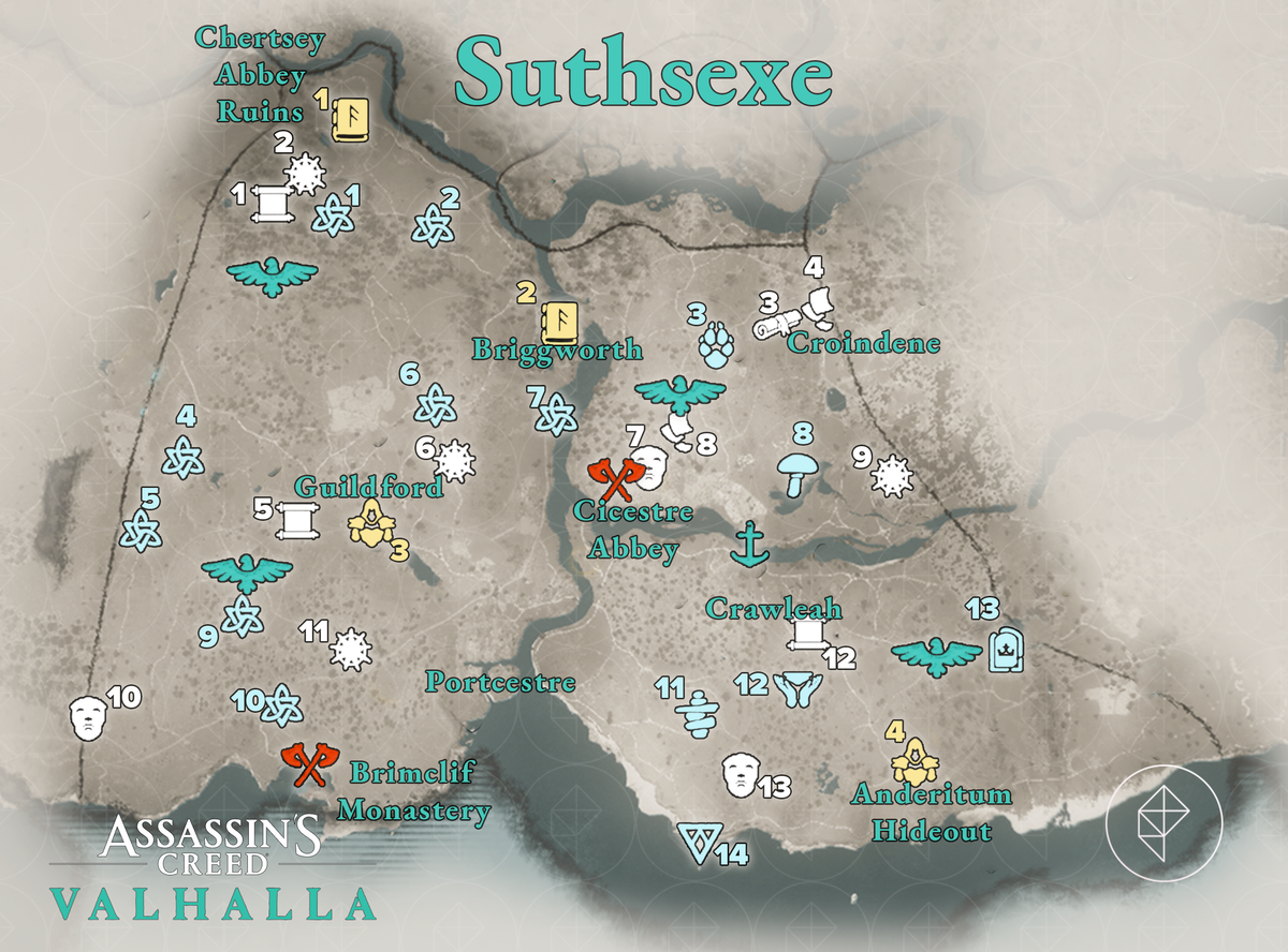Suthsexe Wealth, Mysteries, and Artifacts locations map