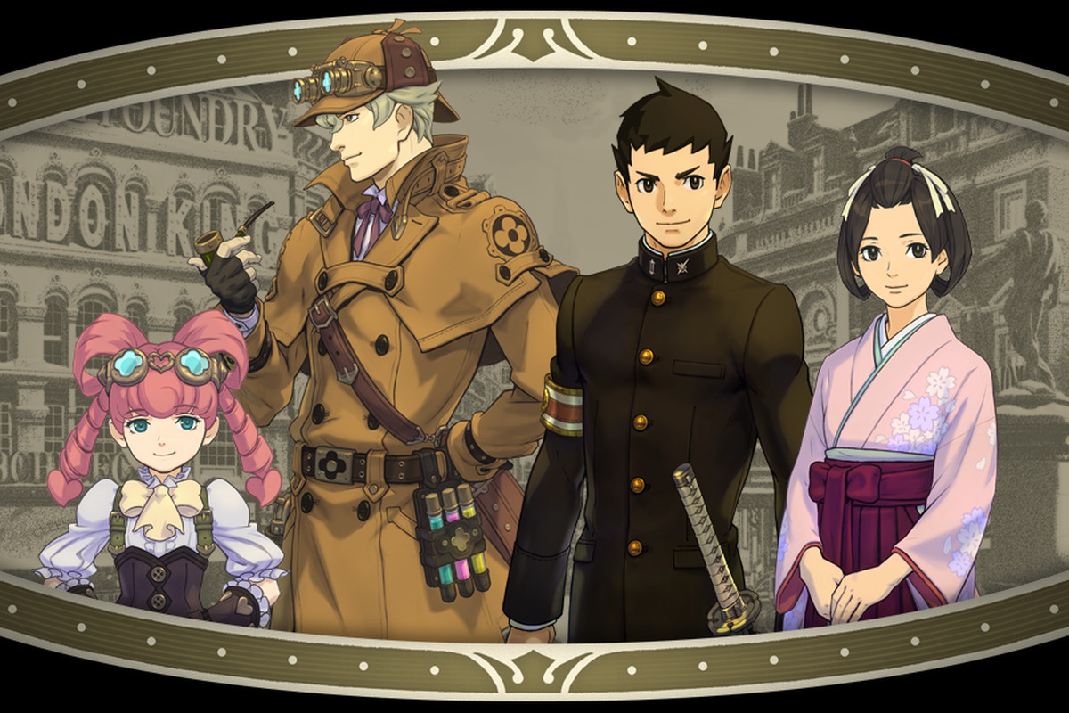 Three Ace attorney characters look triumphant with Sherlock Holmes
