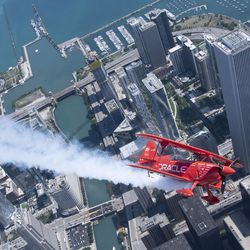 Sean Tucker flies over Chicago on media day for Chicago Air and Water Show 2018. | Colin Boyle/Sun-Times