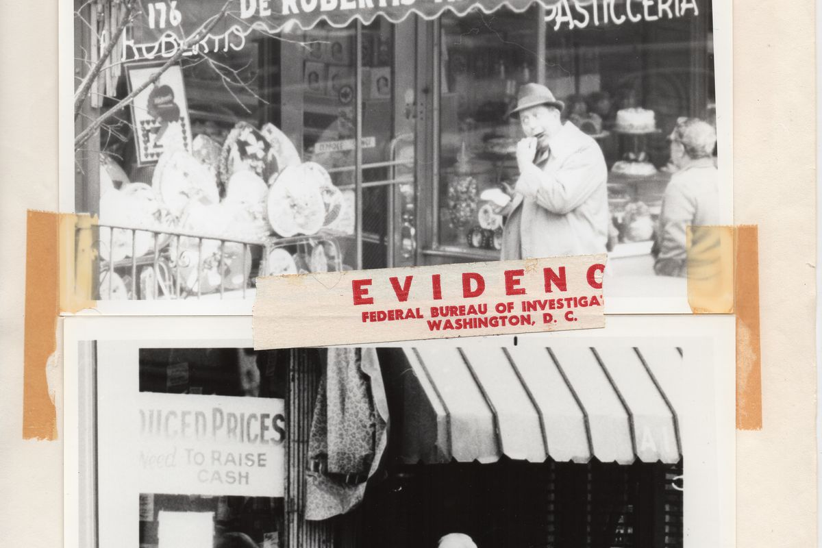 Old black-and-white surveillance images.